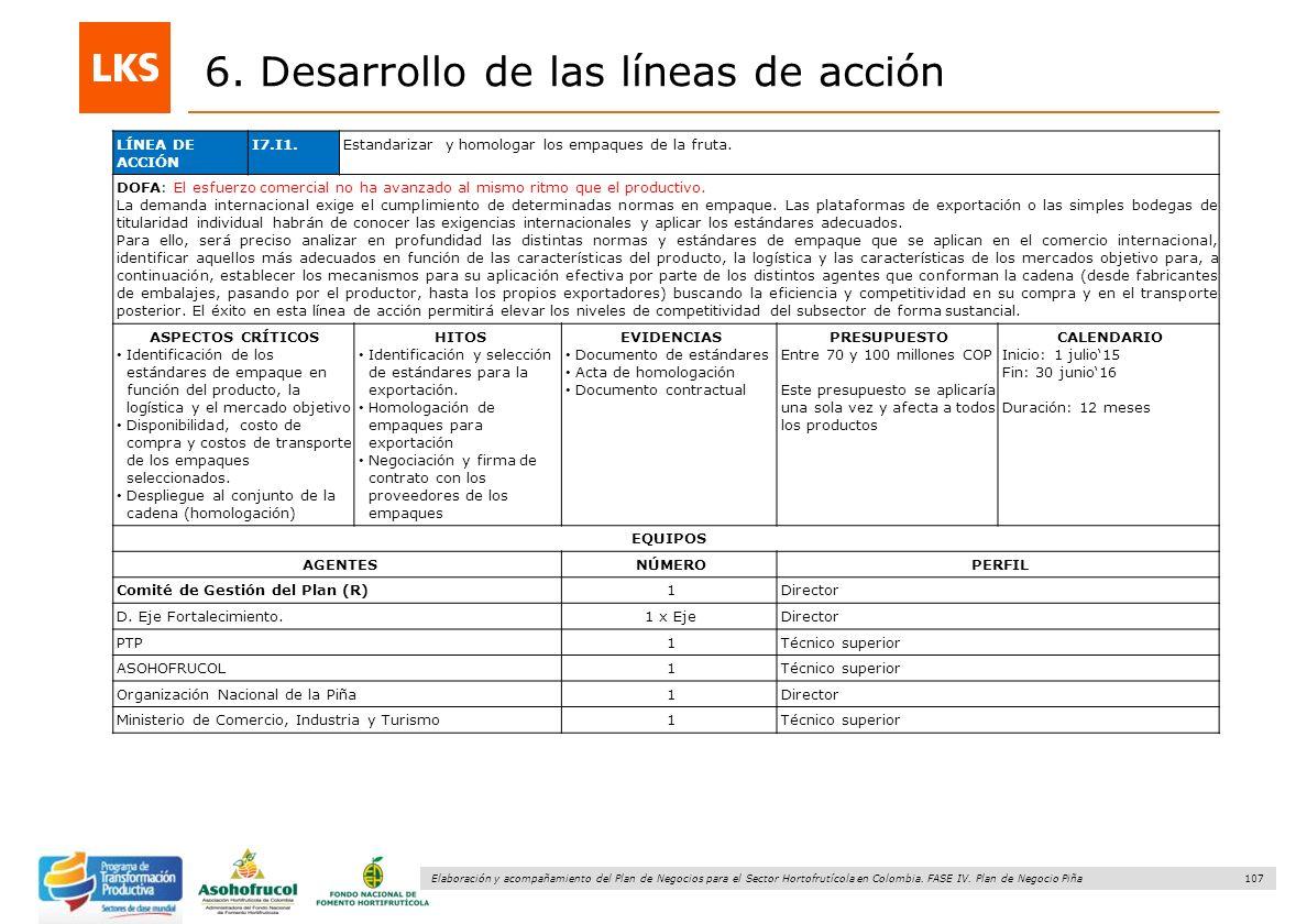 107 Elaboración y acompañamiento del Plan de Negocios para el Sector Hortofrutícola en Colombia. FASE IV. Plan de Negocio Piña 6. Desarrollo de las lí