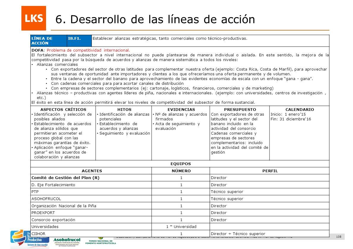108 Elaboración y acompañamiento del Plan de Negocios para el Sector Hortofrutícola en Colombia. FASE IV. Plan de Negocio Piña 6. Desarrollo de las lí