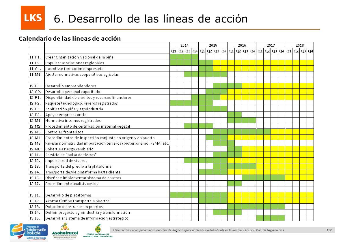 112 Elaboración y acompañamiento del Plan de Negocios para el Sector Hortofrutícola en Colombia. FASE IV. Plan de Negocio Piña 6. Desarrollo de las lí
