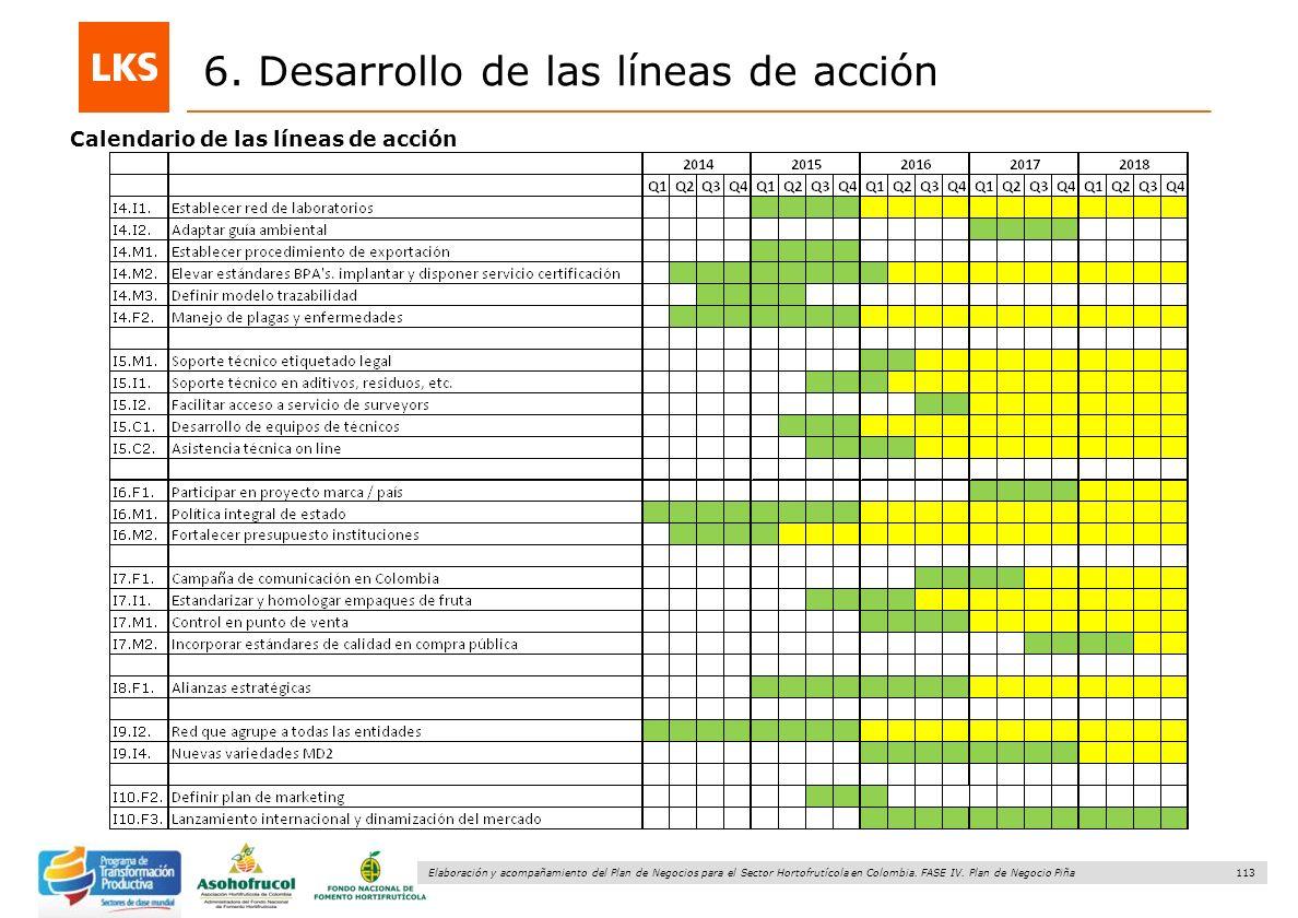 113 Elaboración y acompañamiento del Plan de Negocios para el Sector Hortofrutícola en Colombia. FASE IV. Plan de Negocio Piña 6. Desarrollo de las lí