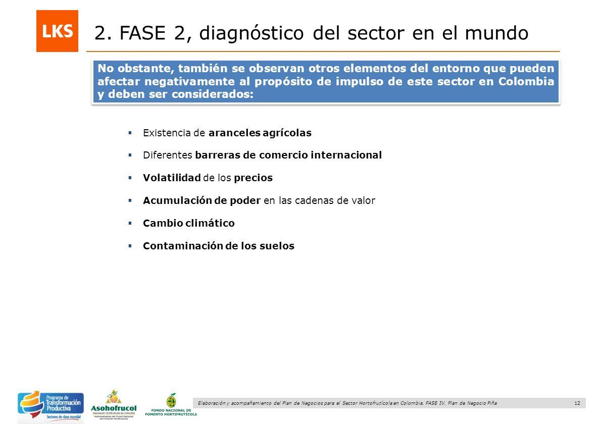 12 Elaboración y acompañamiento del Plan de Negocios para el Sector Hortofrutícola en Colombia. FASE IV. Plan de Negocio Piña 2. FASE 2, diagnóstico d