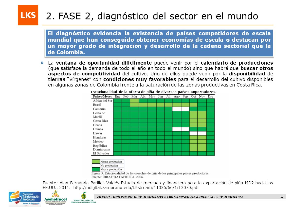 13 Elaboración y acompañamiento del Plan de Negocios para el Sector Hortofrutícola en Colombia. FASE IV. Plan de Negocio Piña 2. FASE 2, diagnóstico d