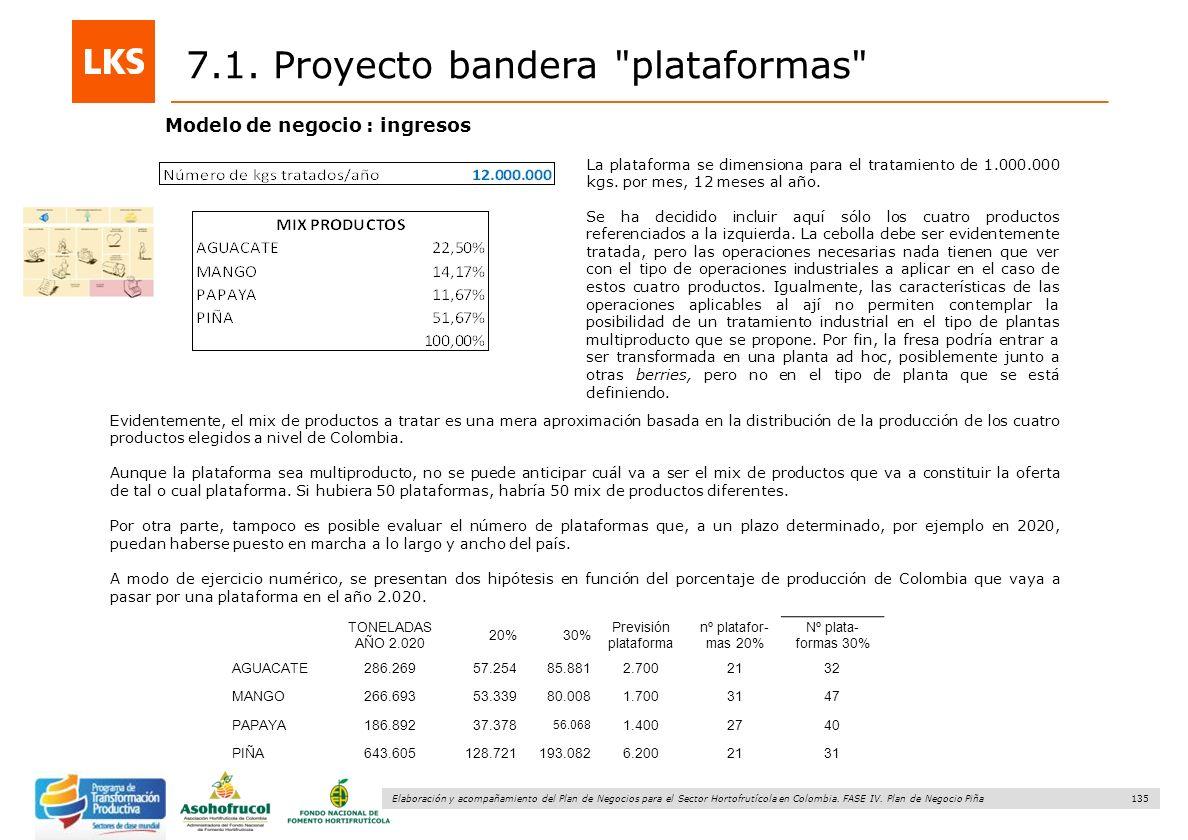 135 Elaboración y acompañamiento del Plan de Negocios para el Sector Hortofrutícola en Colombia. FASE IV. Plan de Negocio Piña La plataforma se dimens