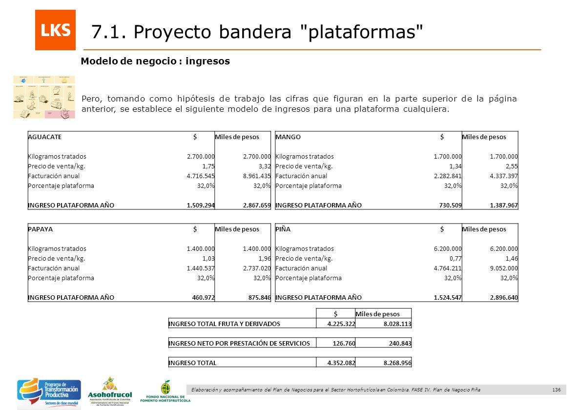 136 Elaboración y acompañamiento del Plan de Negocios para el Sector Hortofrutícola en Colombia. FASE IV. Plan de Negocio Piña Modelo de negocio : ing