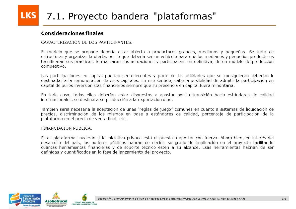 138 Elaboración y acompañamiento del Plan de Negocios para el Sector Hortofrutícola en Colombia. FASE IV. Plan de Negocio Piña 7.1. Proyecto bandera