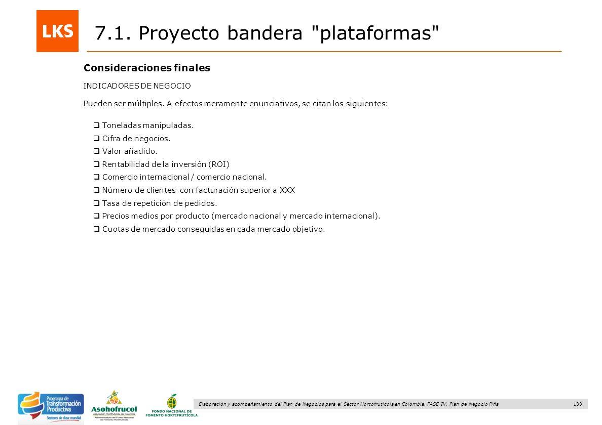 139 Elaboración y acompañamiento del Plan de Negocios para el Sector Hortofrutícola en Colombia. FASE IV. Plan de Negocio Piña 7.1. Proyecto bandera