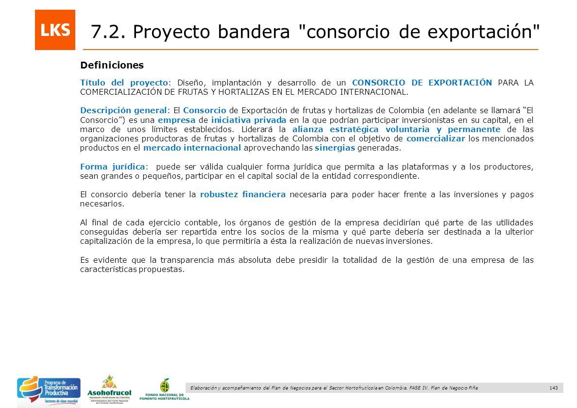 143 Elaboración y acompañamiento del Plan de Negocios para el Sector Hortofrutícola en Colombia. FASE IV. Plan de Negocio Piña 7.2. Proyecto bandera