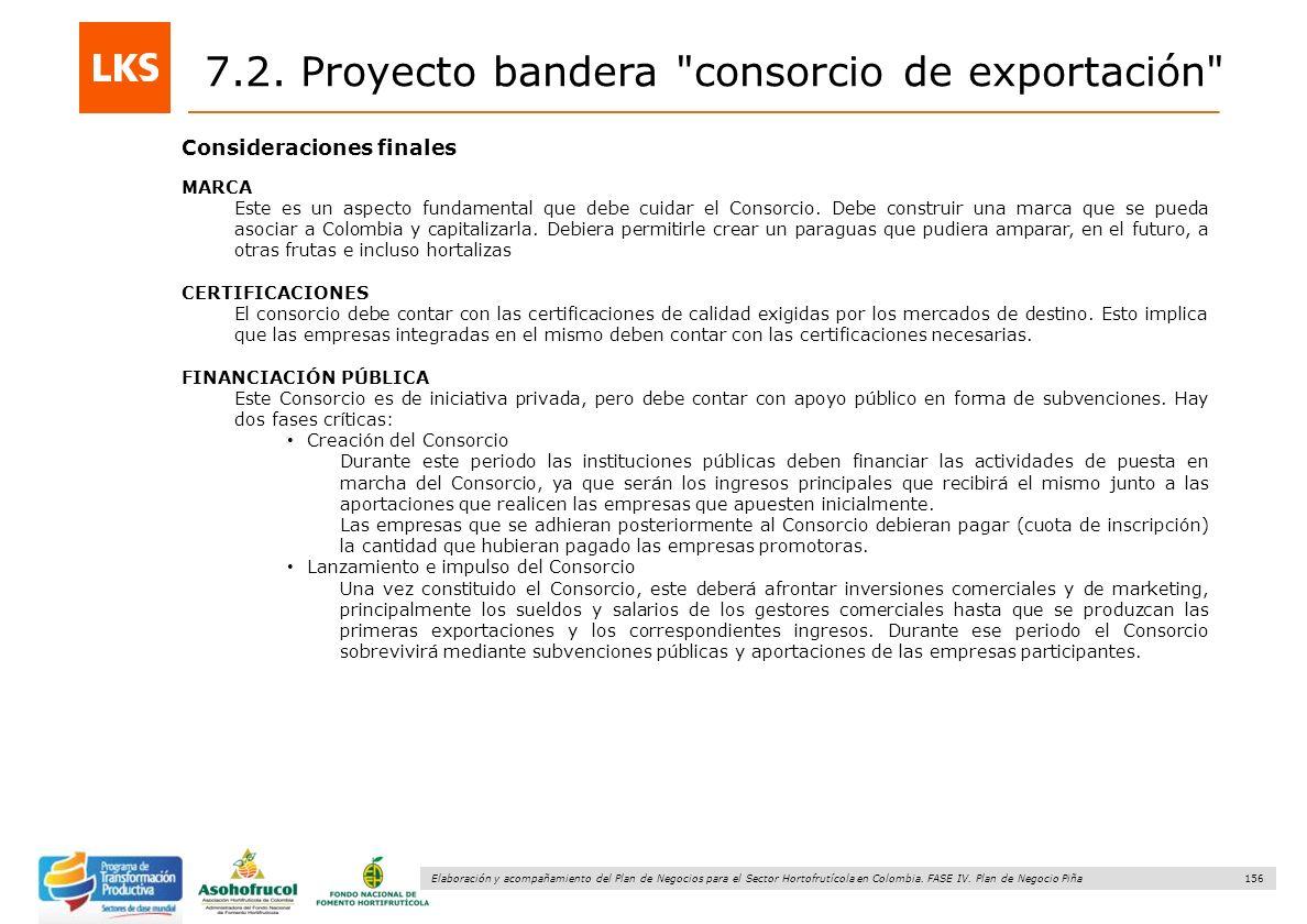 156 Elaboración y acompañamiento del Plan de Negocios para el Sector Hortofrutícola en Colombia. FASE IV. Plan de Negocio Piña Consideraciones finales