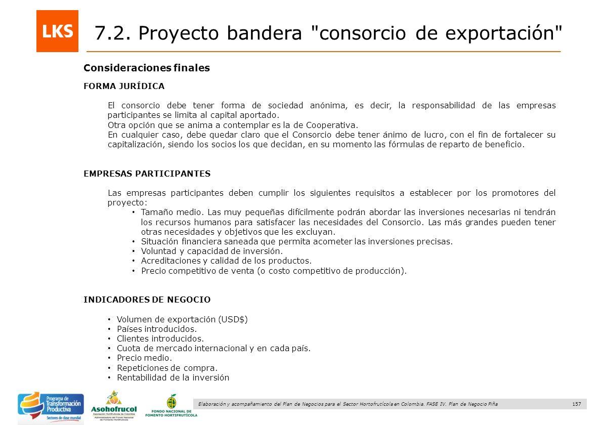 157 Elaboración y acompañamiento del Plan de Negocios para el Sector Hortofrutícola en Colombia. FASE IV. Plan de Negocio Piña Consideraciones finales