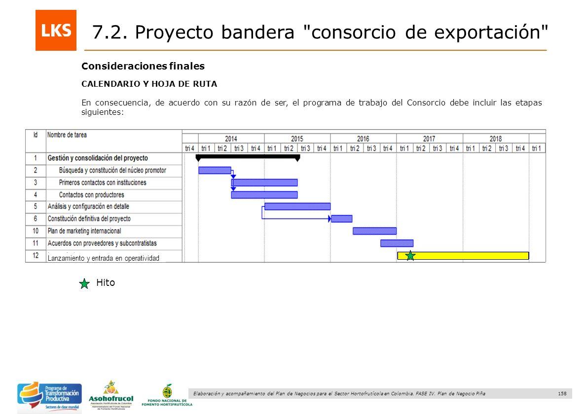 158 Elaboración y acompañamiento del Plan de Negocios para el Sector Hortofrutícola en Colombia. FASE IV. Plan de Negocio Piña Consideraciones finales