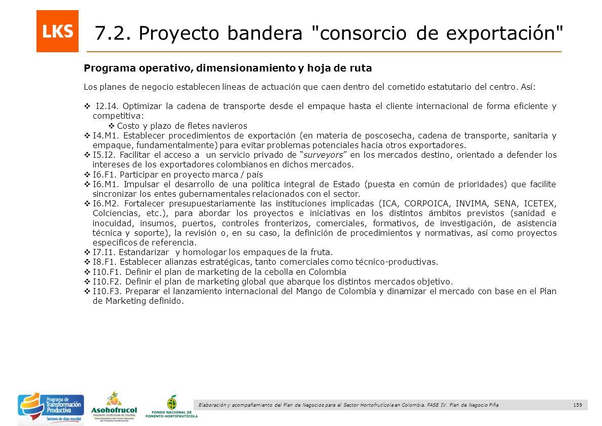 159 Elaboración y acompañamiento del Plan de Negocios para el Sector Hortofrutícola en Colombia. FASE IV. Plan de Negocio Piña Programa operativo, dim