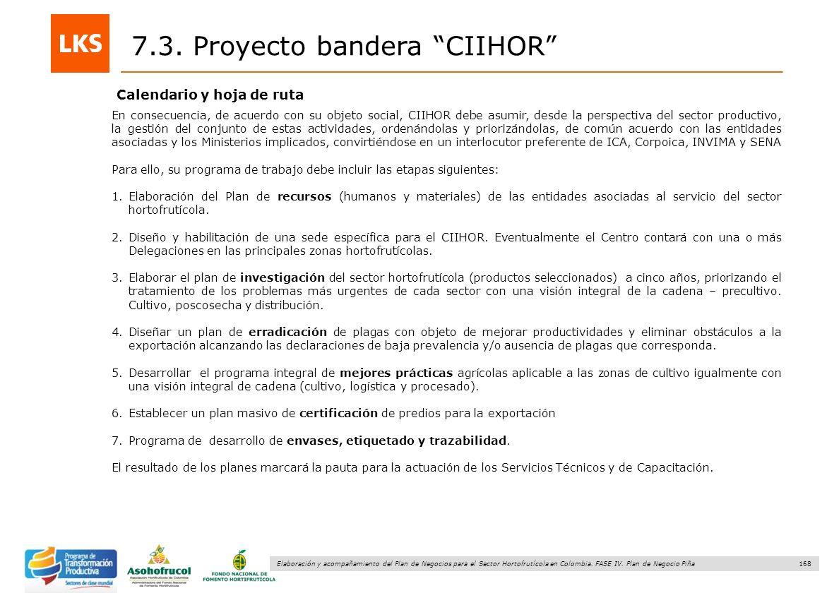 168 Elaboración y acompañamiento del Plan de Negocios para el Sector Hortofrutícola en Colombia. FASE IV. Plan de Negocio Piña Calendario y hoja de ru