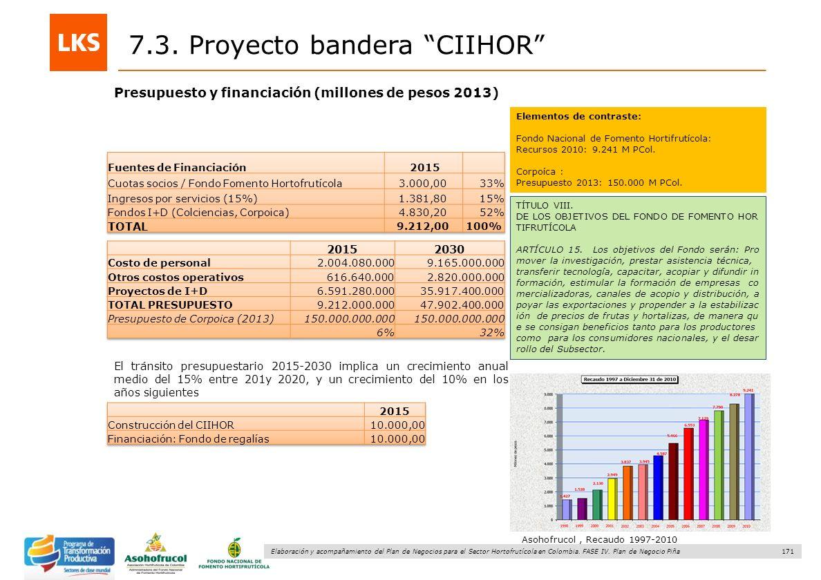171 Elaboración y acompañamiento del Plan de Negocios para el Sector Hortofrutícola en Colombia. FASE IV. Plan de Negocio Piña Presupuesto y financiac