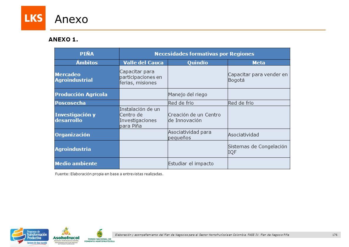 176 Elaboración y acompañamiento del Plan de Negocios para el Sector Hortofrutícola en Colombia. FASE IV. Plan de Negocio Piña ANEXO 1. Fuente: Elabor