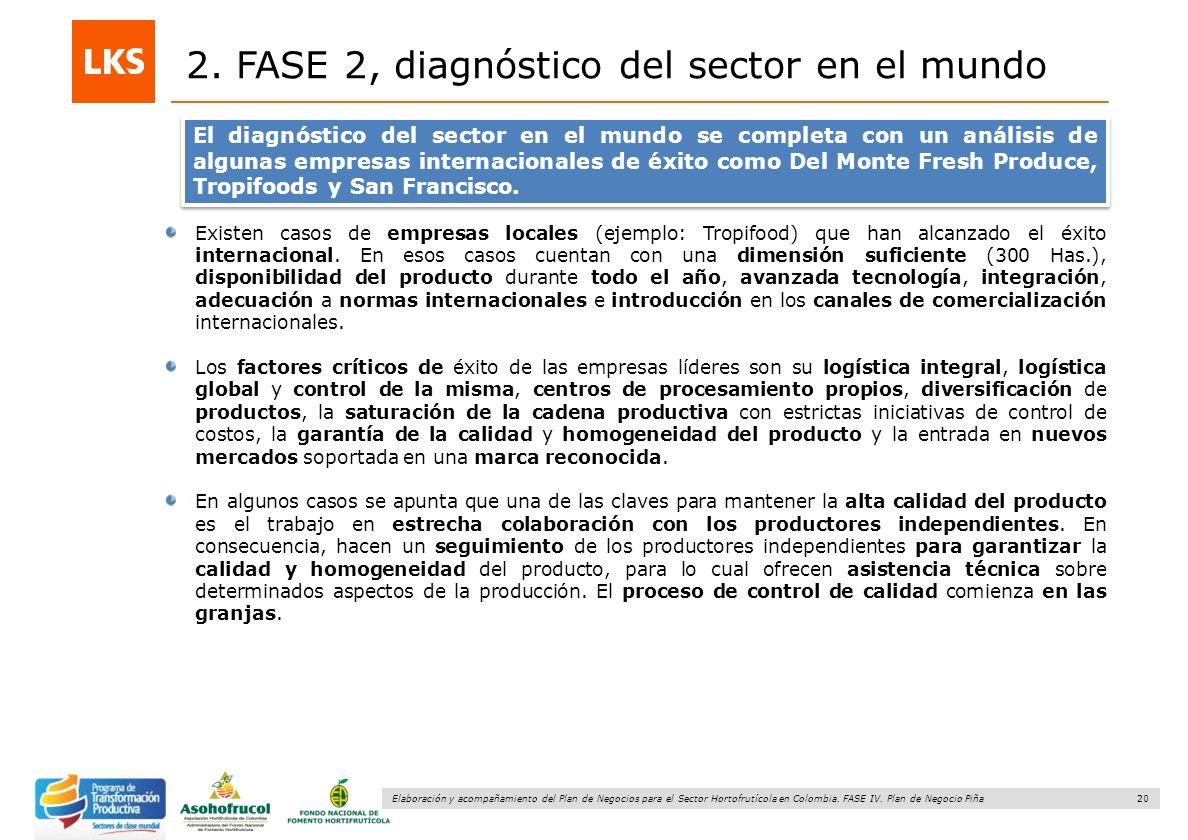 20 Elaboración y acompañamiento del Plan de Negocios para el Sector Hortofrutícola en Colombia. FASE IV. Plan de Negocio Piña 2. FASE 2, diagnóstico d