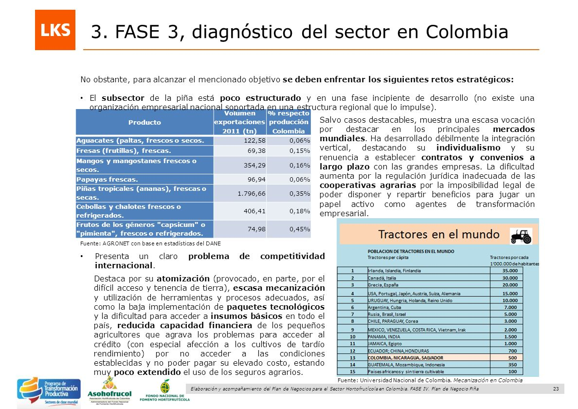 23 Elaboración y acompañamiento del Plan de Negocios para el Sector Hortofrutícola en Colombia. FASE IV. Plan de Negocio Piña 3. FASE 3, diagnóstico d