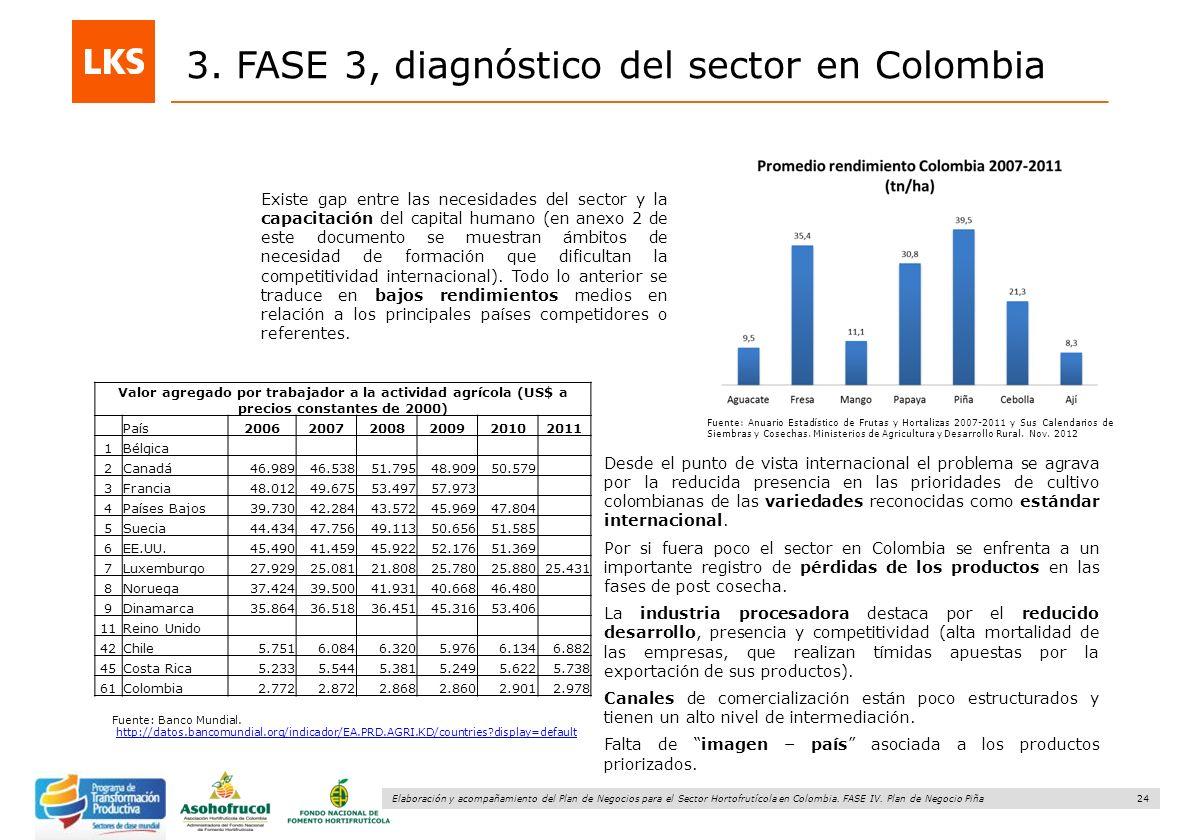 24 Elaboración y acompañamiento del Plan de Negocios para el Sector Hortofrutícola en Colombia. FASE IV. Plan de Negocio Piña 3. FASE 3, diagnóstico d