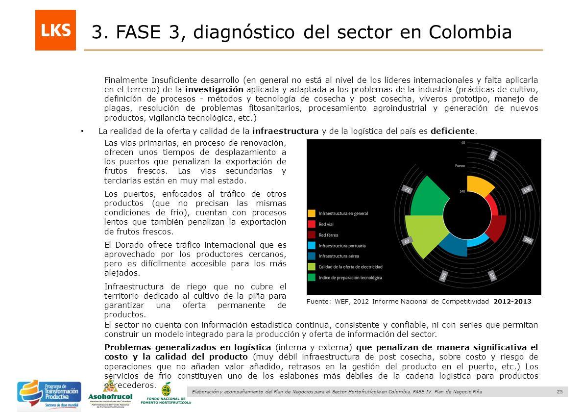 25 Elaboración y acompañamiento del Plan de Negocios para el Sector Hortofrutícola en Colombia. FASE IV. Plan de Negocio Piña 3. FASE 3, diagnóstico d