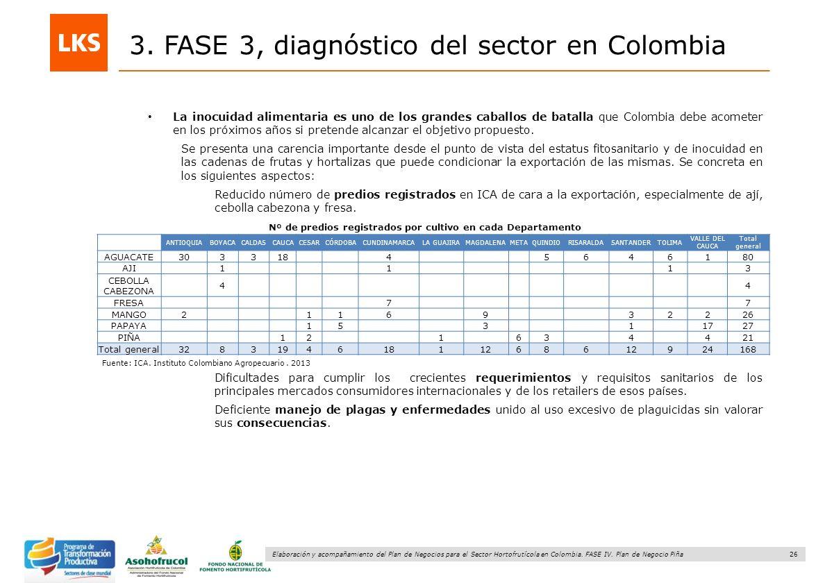 26 Elaboración y acompañamiento del Plan de Negocios para el Sector Hortofrutícola en Colombia. FASE IV. Plan de Negocio Piña 3. FASE 3, diagnóstico d