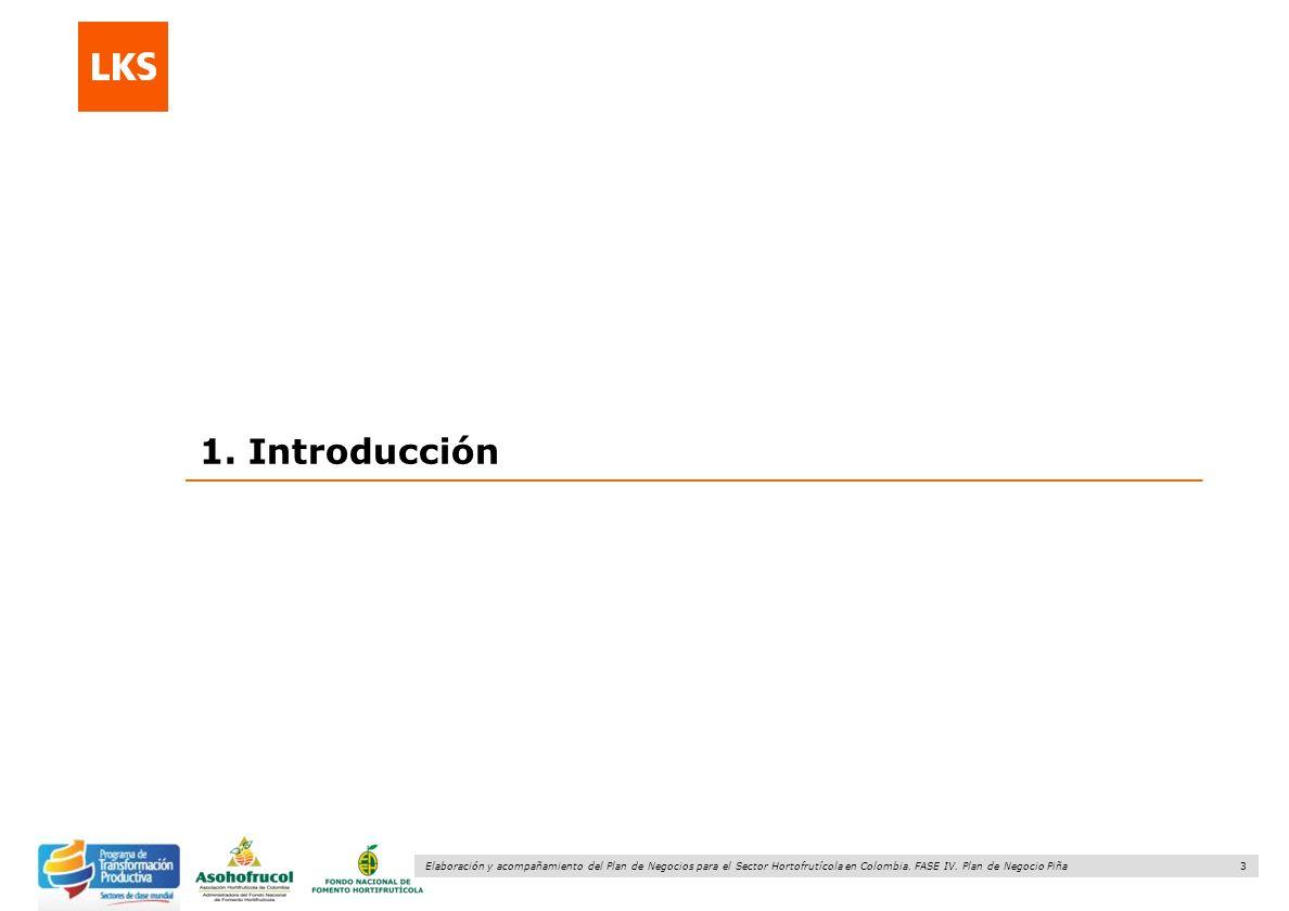3 Elaboración y acompañamiento del Plan de Negocios para el Sector Hortofrutícola en Colombia. FASE IV. Plan de Negocio Piña 1. Introducción