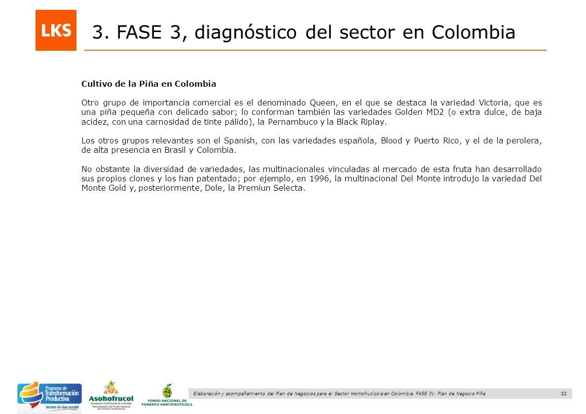 32 Elaboración y acompañamiento del Plan de Negocios para el Sector Hortofrutícola en Colombia. FASE IV. Plan de Negocio Piña 3. FASE 3, diagnóstico d