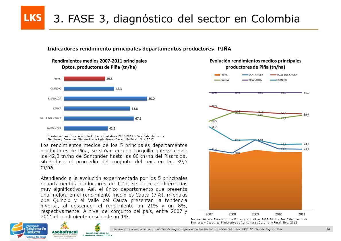 34 Elaboración y acompañamiento del Plan de Negocios para el Sector Hortofrutícola en Colombia. FASE IV. Plan de Negocio Piña 3. FASE 3, diagnóstico d