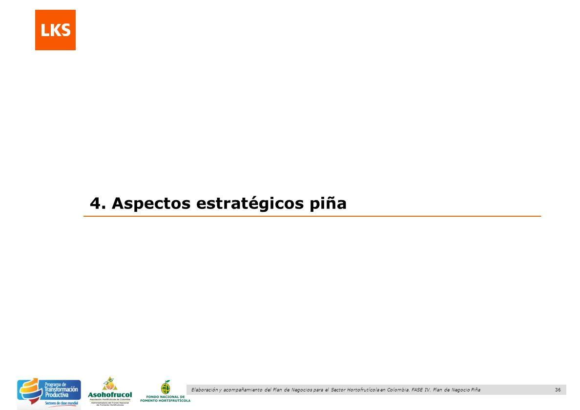 36 Elaboración y acompañamiento del Plan de Negocios para el Sector Hortofrutícola en Colombia. FASE IV. Plan de Negocio Piña 4. Aspectos estratégicos