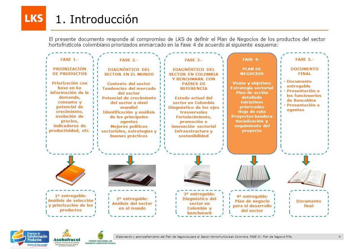 4 Elaboración y acompañamiento del Plan de Negocios para el Sector Hortofrutícola en Colombia. FASE IV. Plan de Negocio Piña 1. Introducción El presen