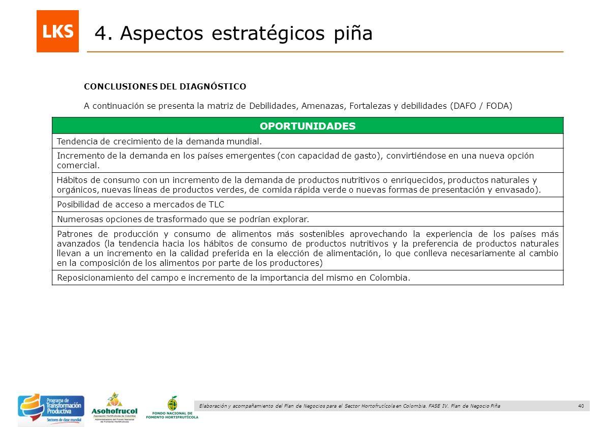 40 Elaboración y acompañamiento del Plan de Negocios para el Sector Hortofrutícola en Colombia. FASE IV. Plan de Negocio Piña 4. Aspectos estratégicos