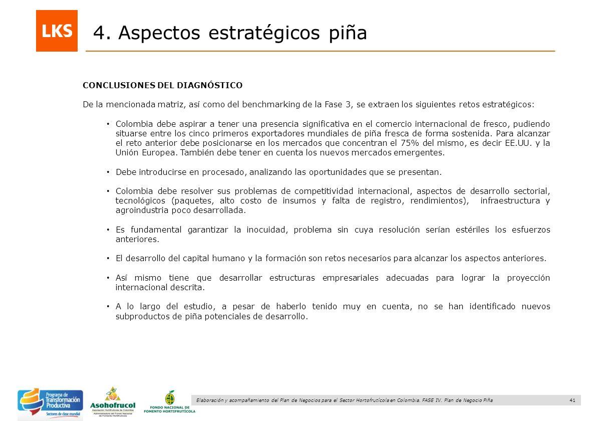 41 Elaboración y acompañamiento del Plan de Negocios para el Sector Hortofrutícola en Colombia. FASE IV. Plan de Negocio Piña 4. Aspectos estratégicos