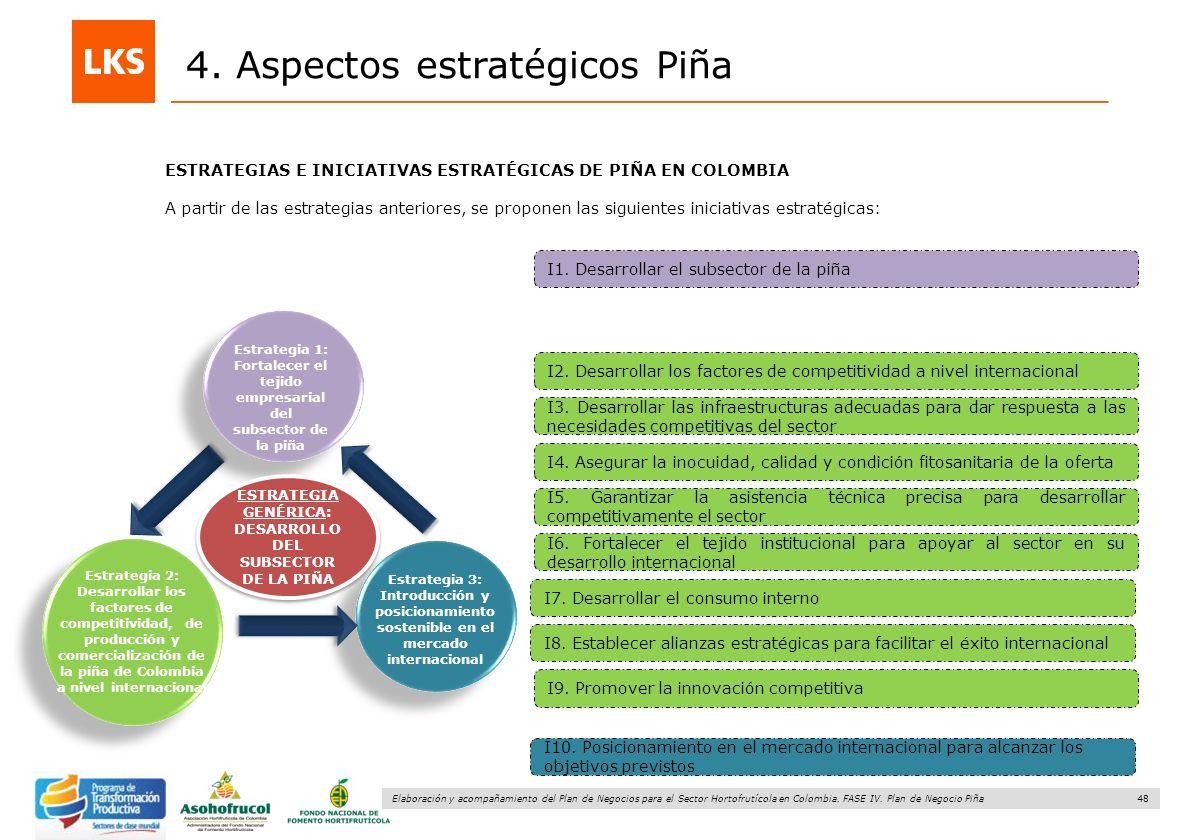 48 Elaboración y acompañamiento del Plan de Negocios para el Sector Hortofrutícola en Colombia. FASE IV. Plan de Negocio Piña 4. Aspectos estratégicos