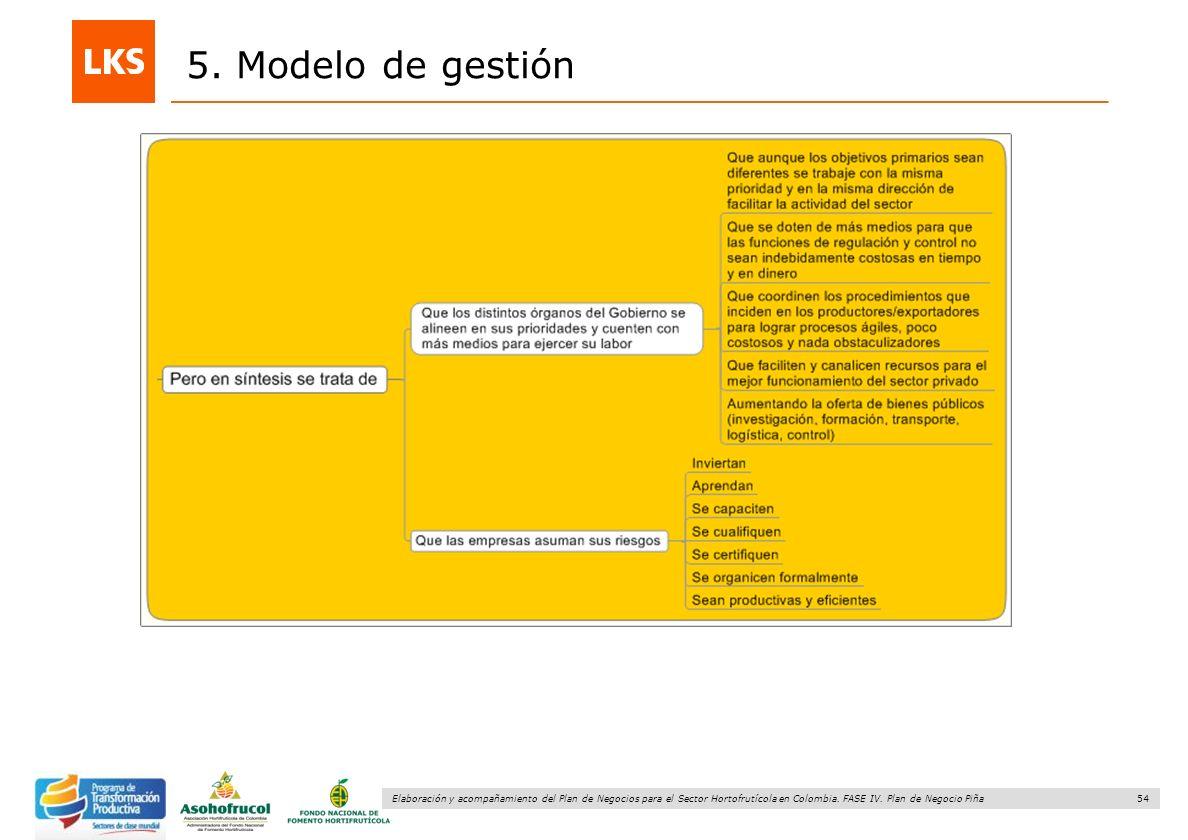54 Elaboración y acompañamiento del Plan de Negocios para el Sector Hortofrutícola en Colombia. FASE IV. Plan de Negocio Piña 5. Modelo de gestión