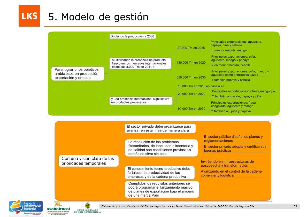 55 Elaboración y acompañamiento del Plan de Negocios para el Sector Hortofrutícola en Colombia. FASE IV. Plan de Negocio Piña 5. Modelo de gestión