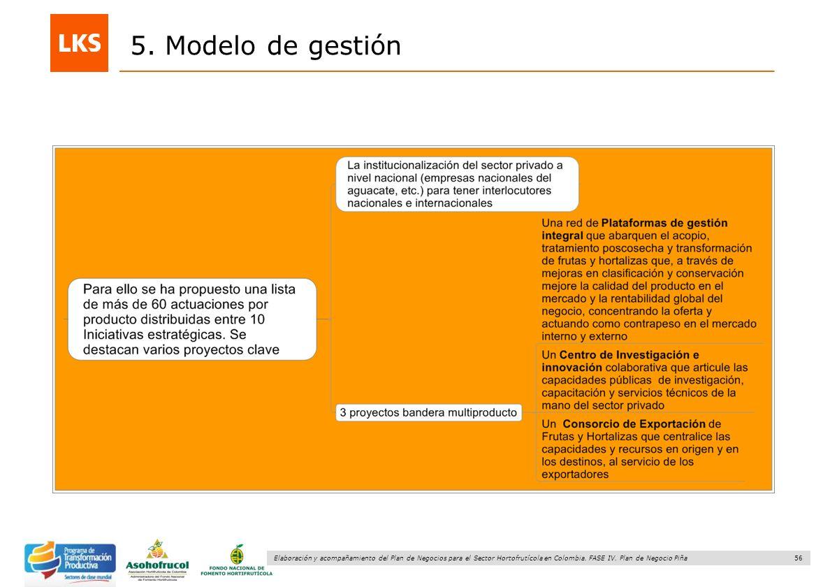 56 Elaboración y acompañamiento del Plan de Negocios para el Sector Hortofrutícola en Colombia. FASE IV. Plan de Negocio Piña 5. Modelo de gestión