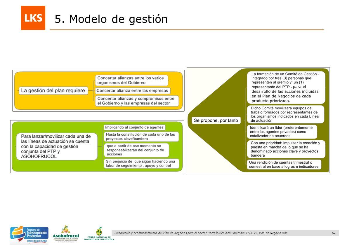57 Elaboración y acompañamiento del Plan de Negocios para el Sector Hortofrutícola en Colombia. FASE IV. Plan de Negocio Piña 5. Modelo de gestión