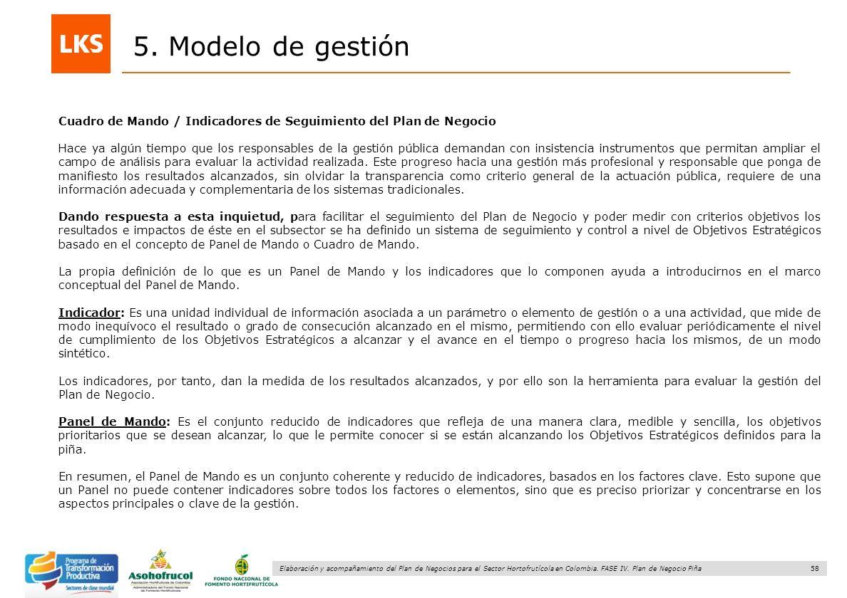58 Elaboración y acompañamiento del Plan de Negocios para el Sector Hortofrutícola en Colombia. FASE IV. Plan de Negocio Piña 5. Modelo de gestión Cua