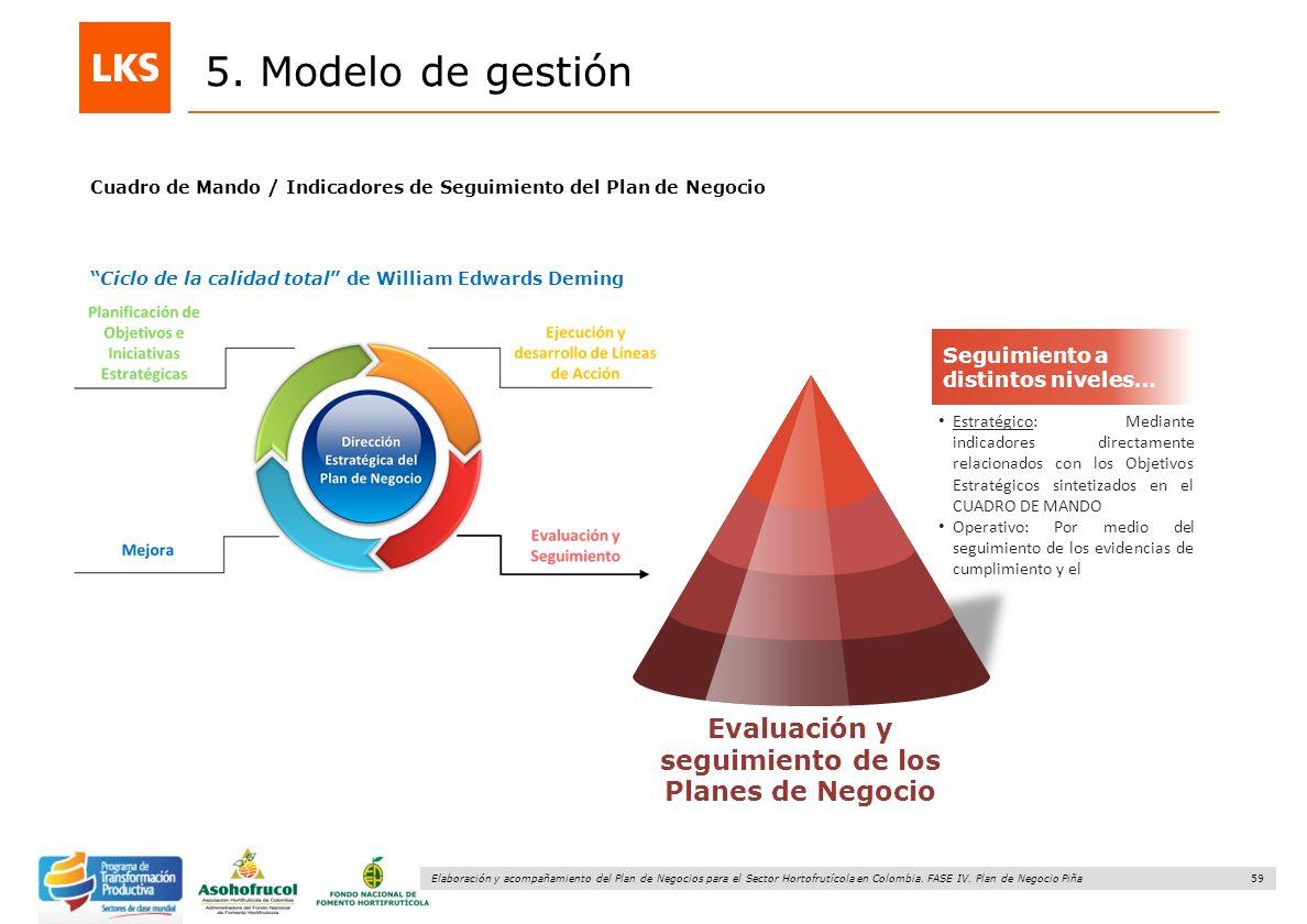 59 Elaboración y acompañamiento del Plan de Negocios para el Sector Hortofrutícola en Colombia. FASE IV. Plan de Negocio Piña 5. Modelo de gestión Seg