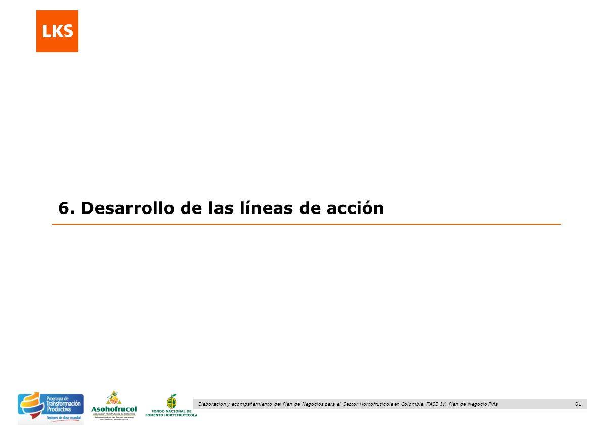 61 Elaboración y acompañamiento del Plan de Negocios para el Sector Hortofrutícola en Colombia. FASE IV. Plan de Negocio Piña 6. Desarrollo de las lín
