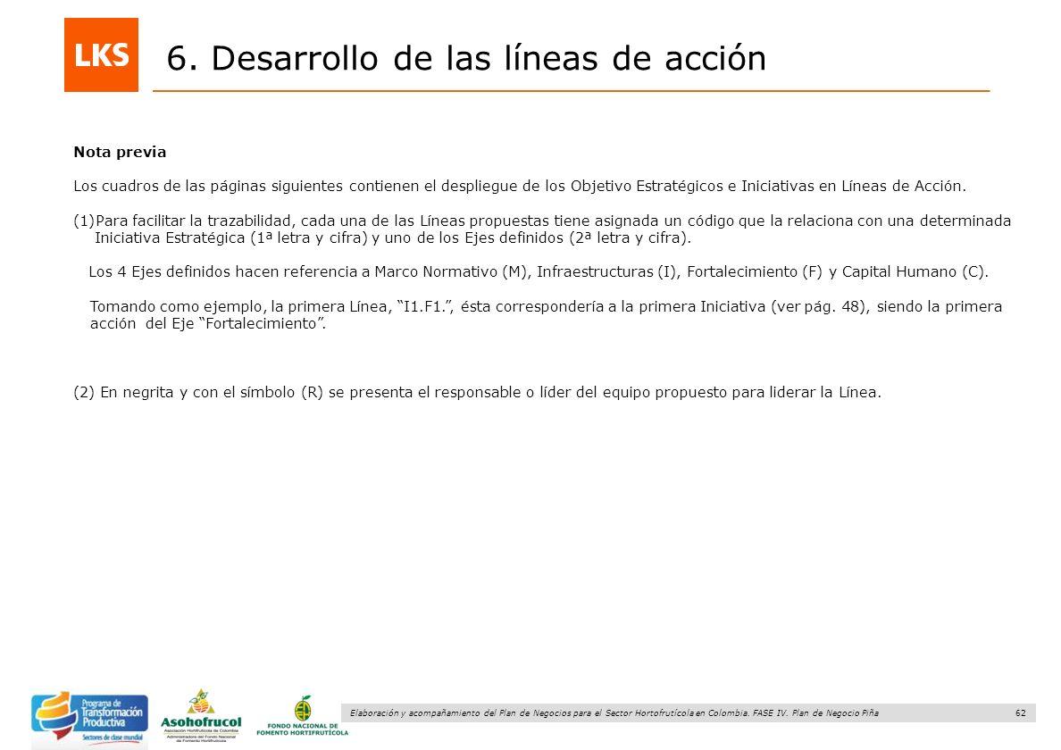 62 Elaboración y acompañamiento del Plan de Negocios para el Sector Hortofrutícola en Colombia. FASE IV. Plan de Negocio Piña 6. Desarrollo de las lín