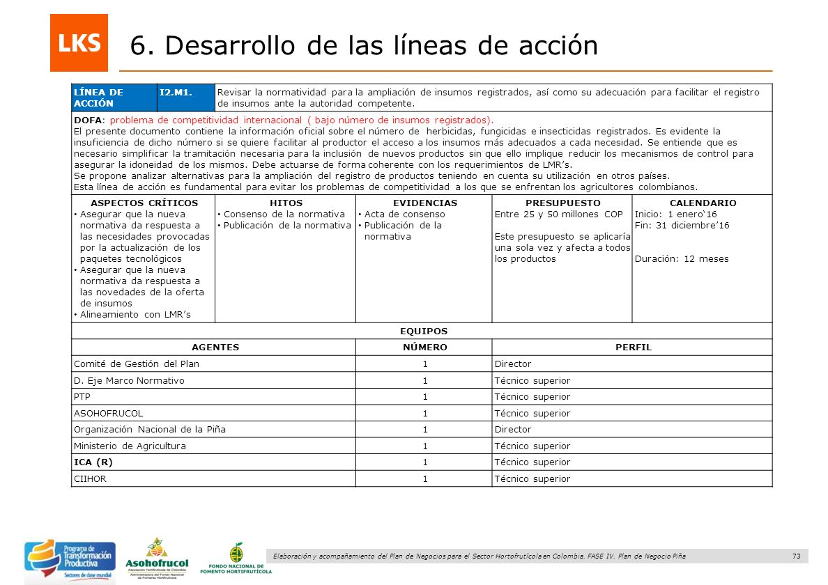 73 Elaboración y acompañamiento del Plan de Negocios para el Sector Hortofrutícola en Colombia. FASE IV. Plan de Negocio Piña 6. Desarrollo de las lín