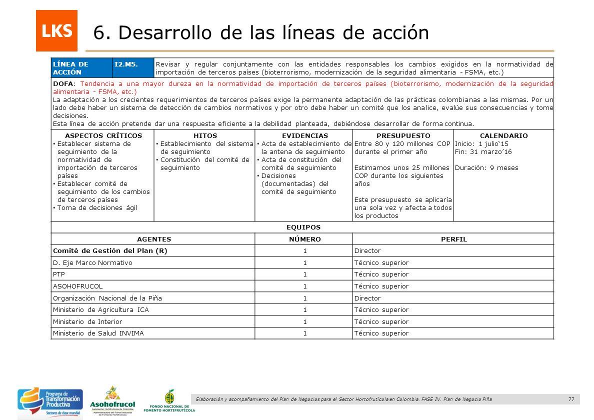 77 Elaboración y acompañamiento del Plan de Negocios para el Sector Hortofrutícola en Colombia. FASE IV. Plan de Negocio Piña 6. Desarrollo de las lín