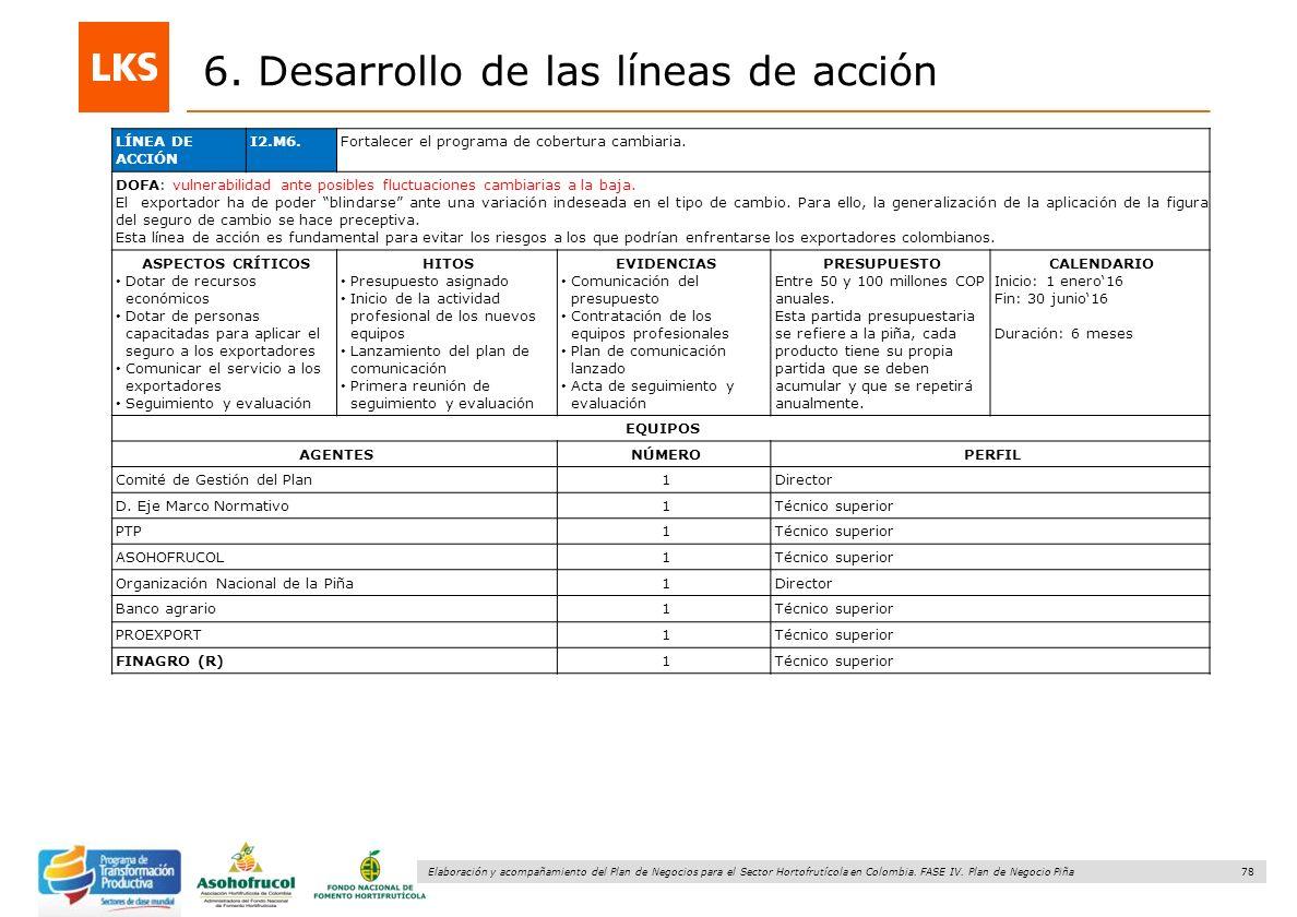 78 Elaboración y acompañamiento del Plan de Negocios para el Sector Hortofrutícola en Colombia. FASE IV. Plan de Negocio Piña 6. Desarrollo de las lín