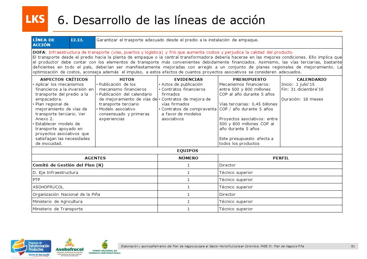81 Elaboración y acompañamiento del Plan de Negocios para el Sector Hortofrutícola en Colombia. FASE IV. Plan de Negocio Piña 6. Desarrollo de las lín