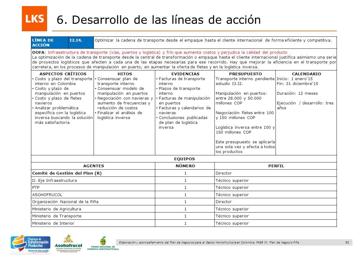 82 Elaboración y acompañamiento del Plan de Negocios para el Sector Hortofrutícola en Colombia. FASE IV. Plan de Negocio Piña 6. Desarrollo de las lín