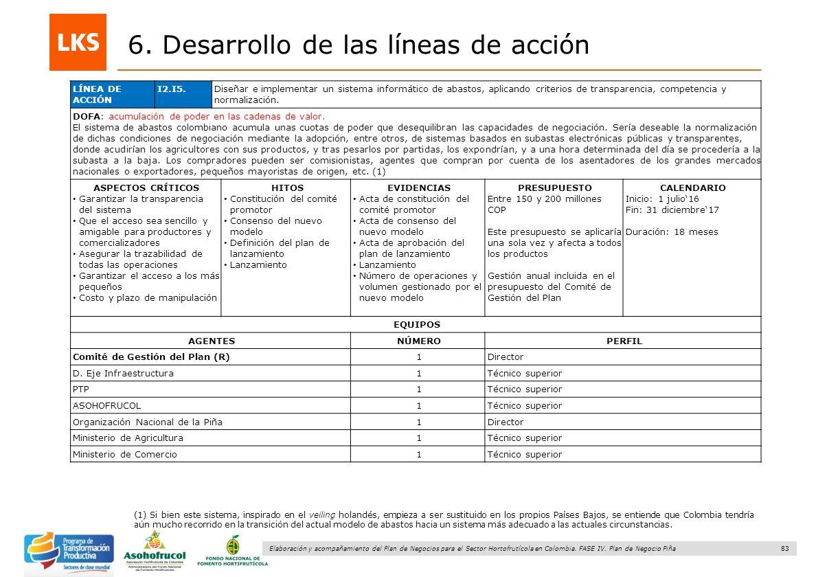 83 Elaboración y acompañamiento del Plan de Negocios para el Sector Hortofrutícola en Colombia. FASE IV. Plan de Negocio Piña 6. Desarrollo de las lín