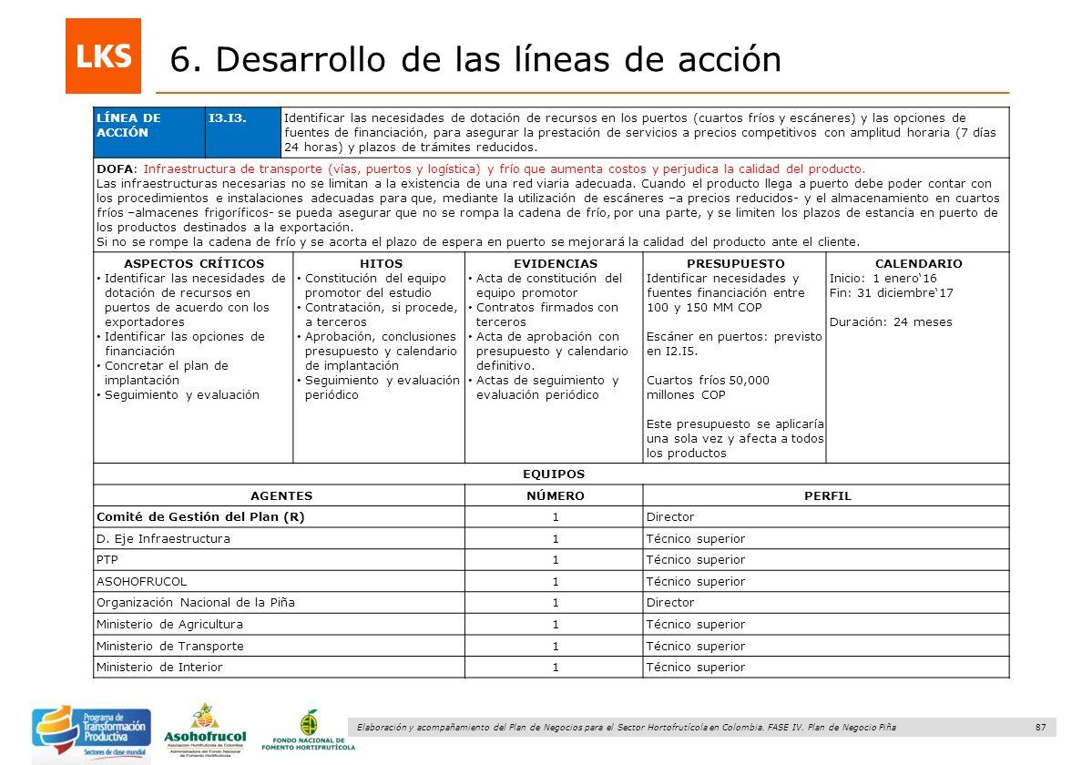 87 Elaboración y acompañamiento del Plan de Negocios para el Sector Hortofrutícola en Colombia. FASE IV. Plan de Negocio Piña 6. Desarrollo de las lín