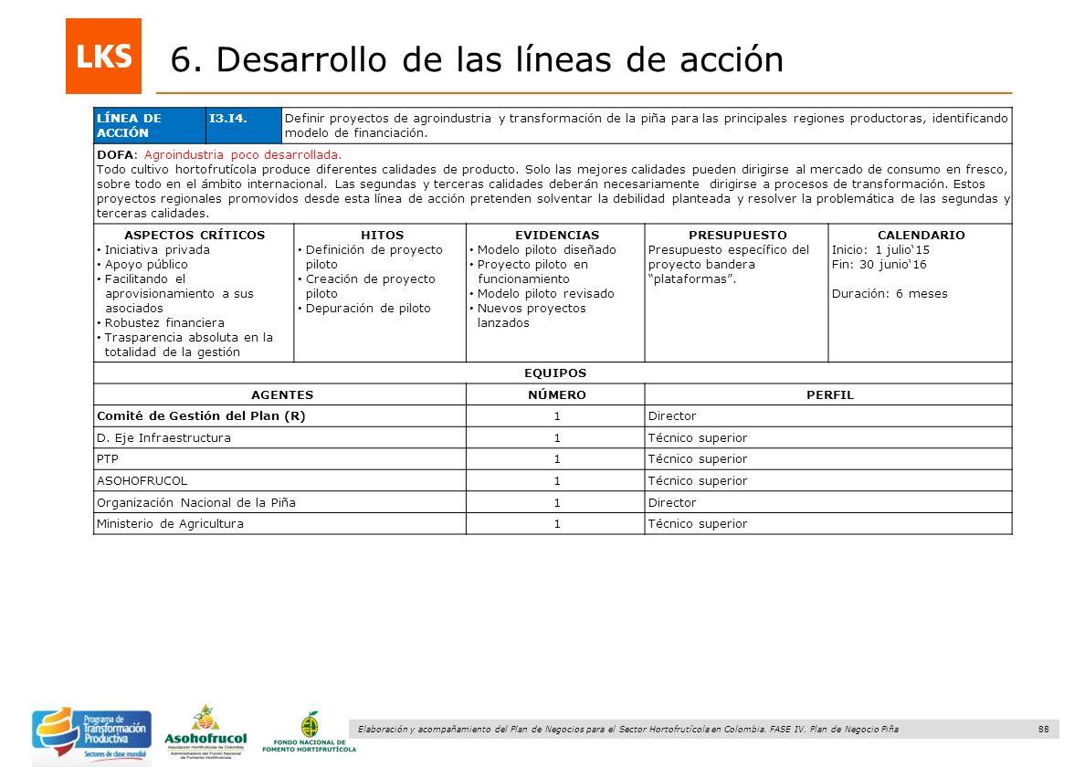 88 Elaboración y acompañamiento del Plan de Negocios para el Sector Hortofrutícola en Colombia. FASE IV. Plan de Negocio Piña 6. Desarrollo de las lín