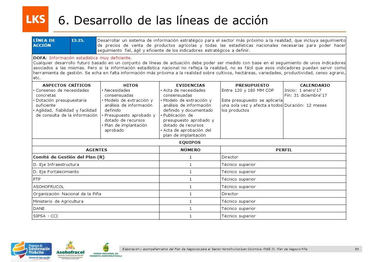 89 Elaboración y acompañamiento del Plan de Negocios para el Sector Hortofrutícola en Colombia. FASE IV. Plan de Negocio Piña 6. Desarrollo de las lín
