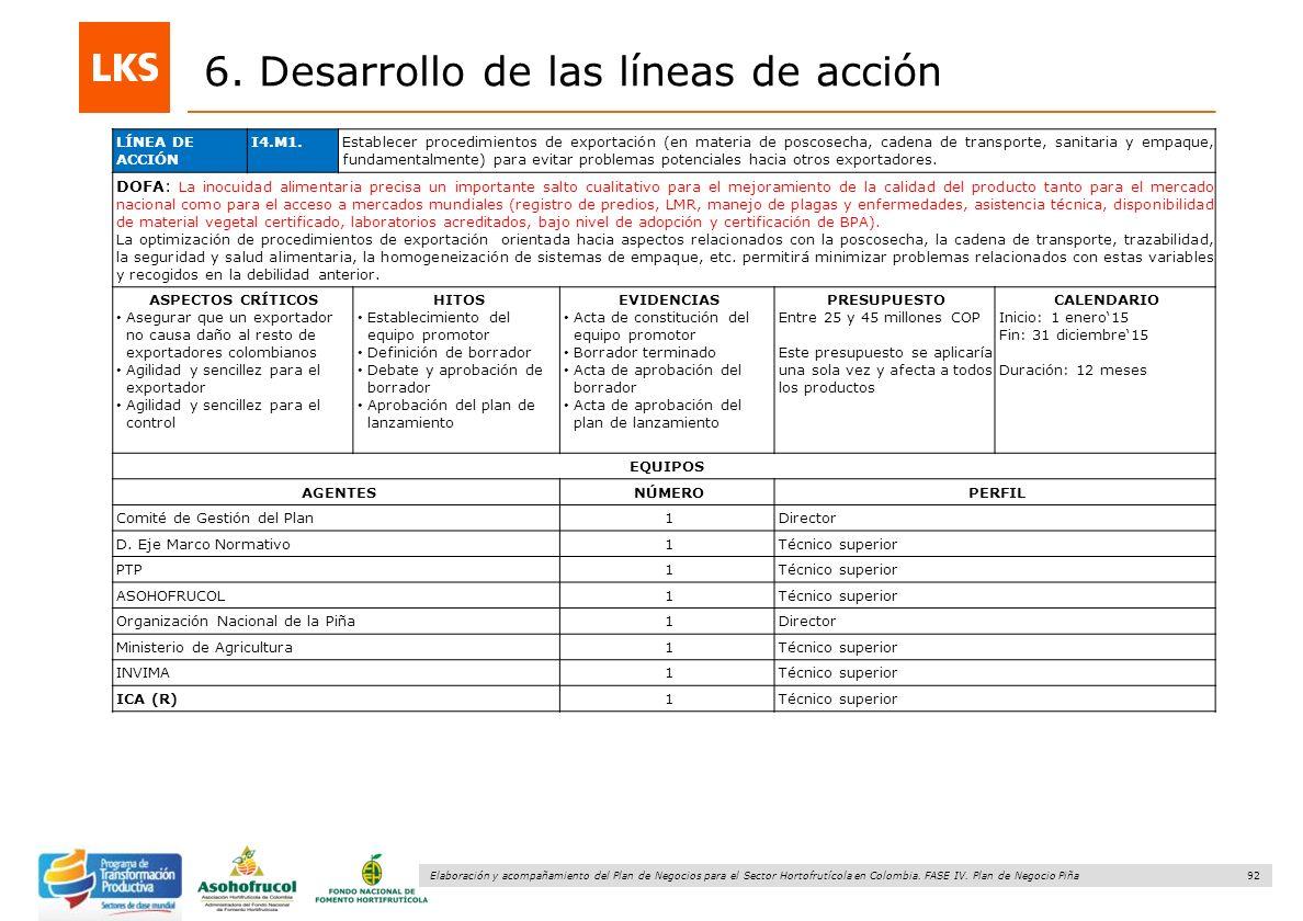92 Elaboración y acompañamiento del Plan de Negocios para el Sector Hortofrutícola en Colombia. FASE IV. Plan de Negocio Piña 6. Desarrollo de las lín