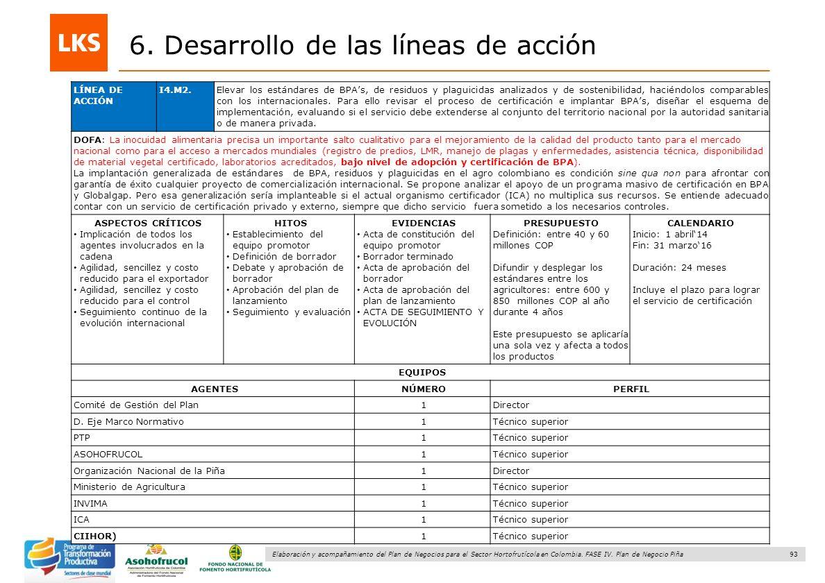 93 Elaboración y acompañamiento del Plan de Negocios para el Sector Hortofrutícola en Colombia. FASE IV. Plan de Negocio Piña 6. Desarrollo de las lín